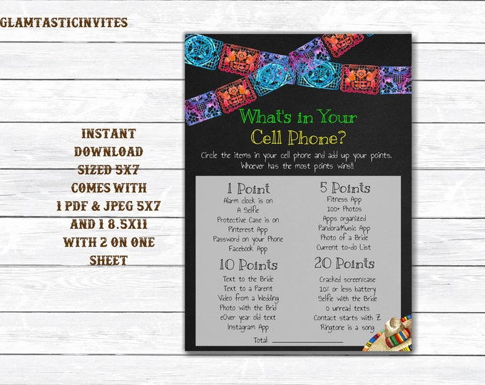 Whats in Your Cell Phone, Fiesta Whats in Your Cell Phone, Fiesta Bridal Shower, Bridal Shower Game, Cell Phone, Fiesta Game, Printable