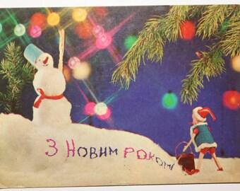 Funny christmas card snowman vintage christmas xmas card winter card merry christmas card Happy New Year card Pinocchio cartoon hero card