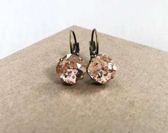 Swarovski Crystal Drop Earrings in Light Peach