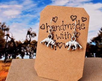Silver Bear Earrings, Tiny Bear Charm Earrings, Silver Dangle Earrings - Animal Earrings - Bear Gift Wild Animal Zoo - Mama Bear