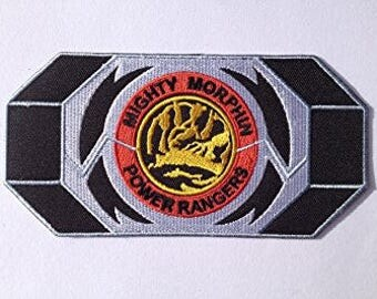 Blue Power Ranger Morpher Patch Embroidered Iron on Badge Mighty Morphin Power Rangers Dinosaur Belt Buckle Costume Applique Dino Thunder