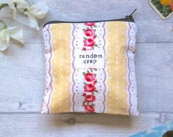 Random Crap - Yellow Floral Zip Pouch