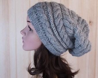 Gray Women Slouchy Beanie Winter hand knit Hat Gray Women Knitted long beanie chunky Hat gray wool knit hat womens accessories