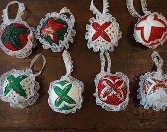 8 Large Quilt Square Ornaments
