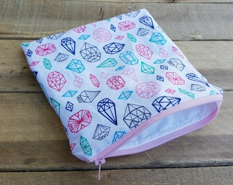 Sandwich and snack bag, makeup bag, wet bag, reusable bag, food bag, zip sandwich bag, lunch bag, diamond print,  cosmetic bag, mama cloth