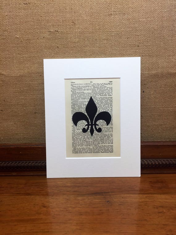 Fleur De Lis Vintage Style Print | Dictionary Print | Book Page Print | Wall Art Print | Bedroom Decor | Shabby Chic Home Decor