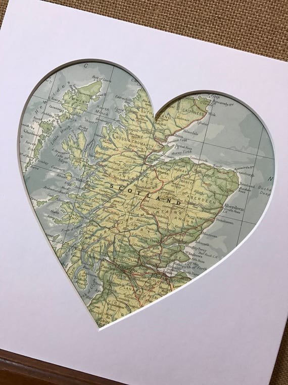 LOVE SCOTLAND - Heart Mount Vintage Atlas / Mall Wall Art - Country Town City - Vintage Atlas Pages - Custom Made To Order