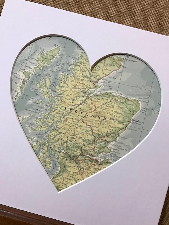 SCOTLAND Heart Map Art Gift | Country Heart Map | Map Heart | Custom Map Country | Heart Map Gift | Scottish Heart Map | Love Scotland Gift