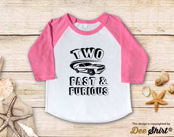 Second Birthday Shirt 2nd T Two Fast Furious Year Old Kids Tee