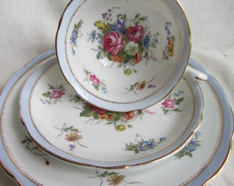 Vintage Grosvenor China Jackson and Gosling fine bone china trio , Ye Olde English tea cup saucer plate, tea party, wedding, tea party c1920