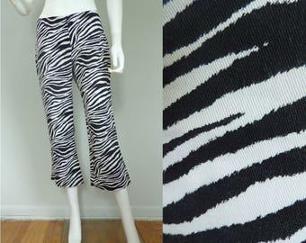 Vintage Zebra Print Pants, Animal Print Pants, Black & White Pants, Zebras, Zebra Print, Capris, Summer Capris, Size 8 Pants, Size 10 Pants