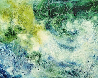Square Fine Art Print - Crystalline flow structures (green-blue)