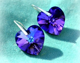 Swarovski Heliotrope Purple Earrings Heart shape Crystal Jewelry Silver hooks gift for her
