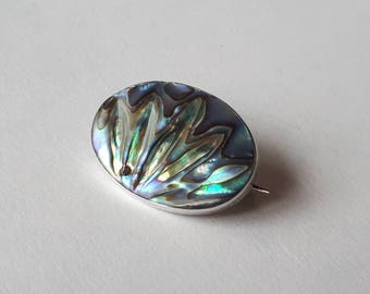 Vintage New Zealand Abalone/ Paua Shell and Sterling Silver Brooch