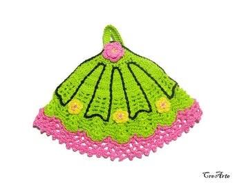 Green and Pink crochet fan potholder with Yellow flowers, Presina ventaglio all'uncinetto verde e rosa con fiori gialli
