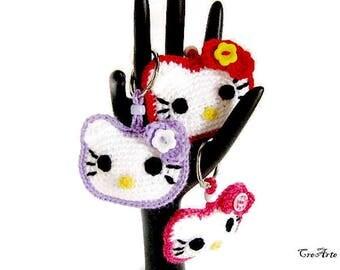 Hello Kitty crochet keychains, portachiavi Hello Kitty all'uncinetto