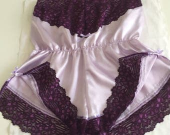 Silky Satin Teddy Lilac & Plum Baby Doll All in One Cami Pyjama Set Brides Gift Size 14 UK