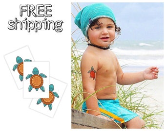"Set of 3 tatts ""Turtle"". Lucky sea animal kids temporary tattoos. Party bag supply. TT129"