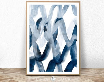 Printable Digital Download, Abstract Painting, Navy Blue, Watercolour Wall Art Print, Brush Stroke, Large Poster, Ink, Modern Minimalist