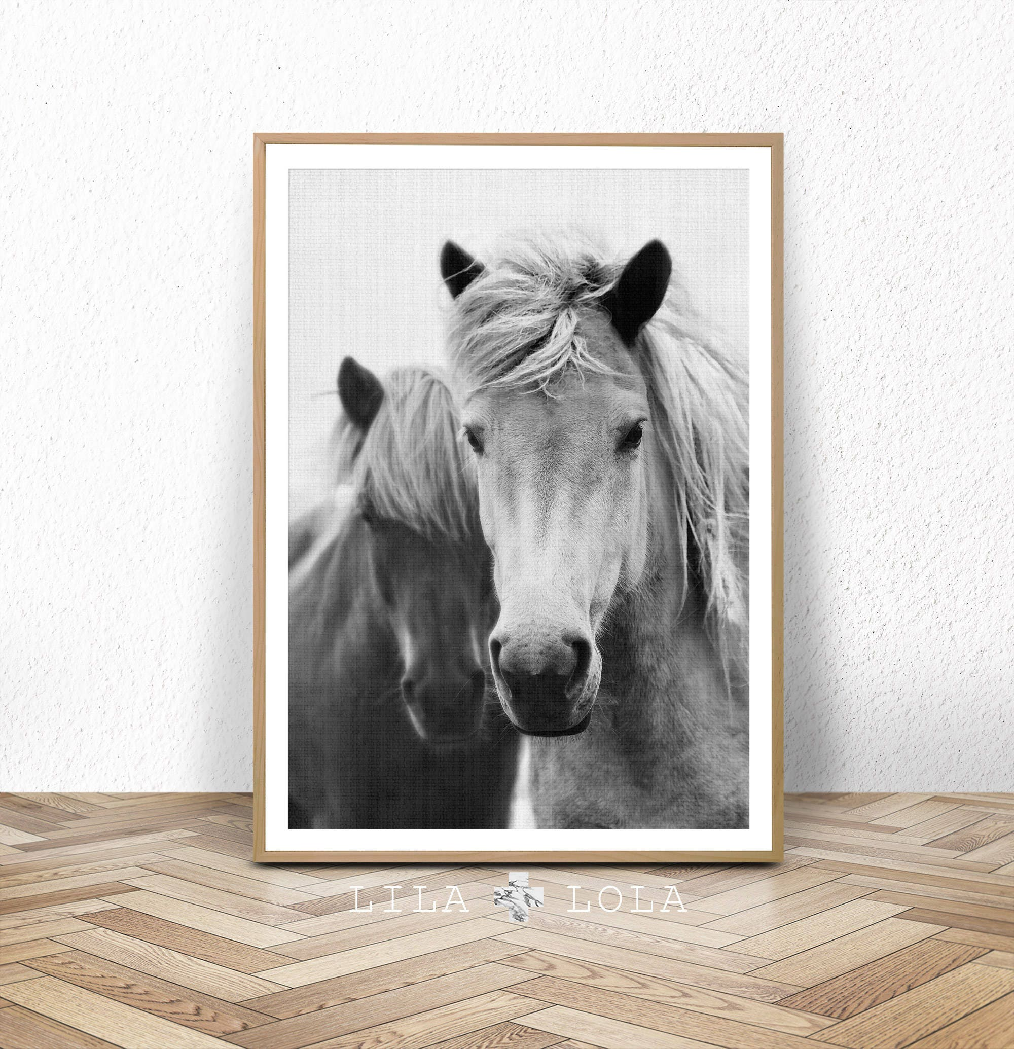Horse print large printable wall art black and white zoom amipublicfo Gallery