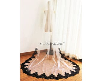 Black Veil, Black and White Veil, Eyelash Lace Veil, Lace Veil Cathedral, Mi Bridal Veil