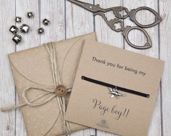 Page boy gifts - bridal party gifts - custom friendship bracelets  - thank you for being my page boy gifts - gifts for him - wedding party