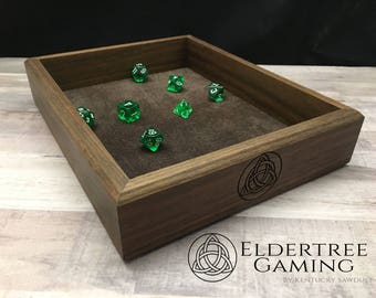 Premium Dice Tray - Table Top Sized - Walnut with Felt or Leather Rolling Surface - Eldertree Gaming