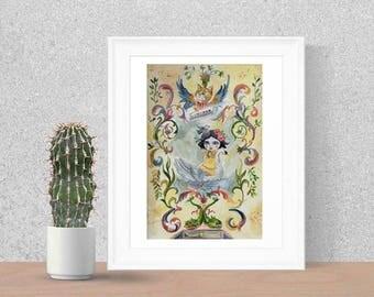 Leda and the swan - Art Print