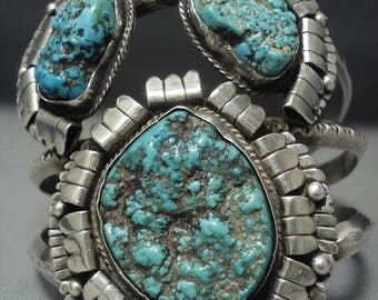 Quality Vintage Navajo Turquoise Sterling Silver Bracelet Old Pawn