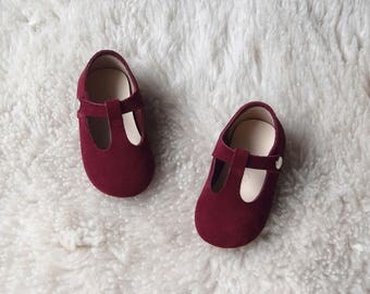Burgundy Baby Girl Shoes, Leather T Strap Mary Jane, Toddler Girl Shoes, Handmade Gift For Girls, Holiday Baby Outfit, Red Baby Shoes