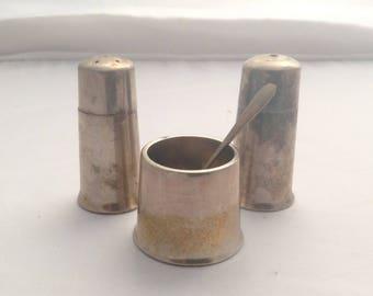 Vintage Elkington Mustard Pot Salt Pepper Pot Shakers Condiment Set  Cruet ( Ref no. A113 )