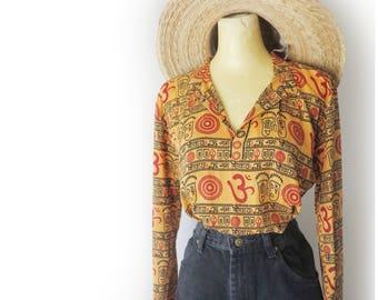 Vintage 70's Orange Red + Black Groovy Graphic Boho Ethnic Long Sleeve Tunic Top Size Medium