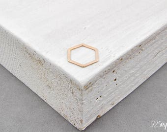 925 Sterling Silver hexagon Rose gold plated, silver hexagon, hexagon pendant, hexagon charms, little hexagon, hexagon outline, narrow, geo
