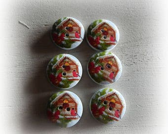 6 buttons theme Christmas House snow 20 mm
