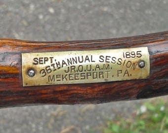 RARE 1895 Antique Walking Stick Cane, Hiking Stick Marked September 1895 McKeesport, P.A.