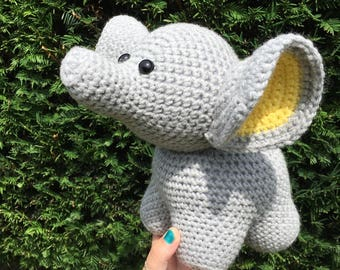MADE TO ORDER handmade crochet amigurumi art toy stuffed animal toy free-standing large elephant plushie