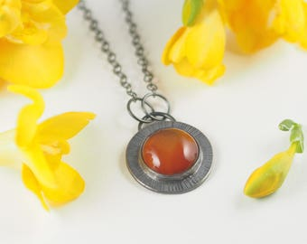Natural Carnelian Necklace, Silver Necklace, Textured Necklace