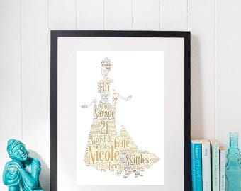 Framed word art Disney princess Anastasia design, personalised gift for all occasions