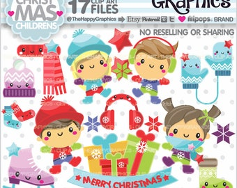 Christmas Clipart, 80%OFF, Christmas Graphics, COMMERCIAL USE, Christmas Party, Planner Accessories, Winter Clipart, Winter Children
