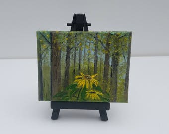 Sunflower Forest Miniature Oil Painting with Easel