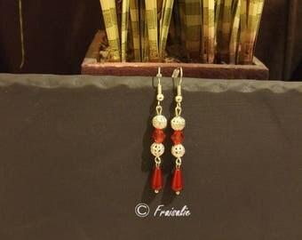 1 pair of silver dangle earrings drop red miracle