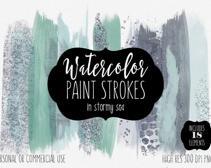 WATERCOLOR BRUSH STROKES Clip Art Commercial Use Clipart Paint Stroke Blog Header Mint Aqua Gray Confetti Watercolour Texture Logo Graphics