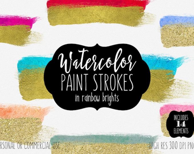 GOLD & WATERCOLOR BRUSH Strokes Clipart Commercial Use Clipart 14 Watercolor Paint Splash Gold Paint Graphics Watercolor Brush Logo Design