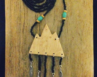 Mountain mama hand crafted wooden pendant necklace