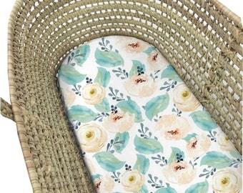 Moses Basket Sheet Peachy Peony. Bassinet Sheet Floral. Moses Basket Sheet. Bassinet Sheet. Bassinet Sheet Girl. Girl Bassinet Bedding.