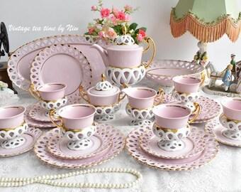 Vintage Coffee Set - Bisant luxury coffee set for six - flower coffee set - coffee cup - old coffee set