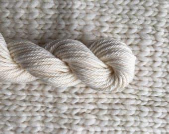 Organic Cotton MINI Skein - 40 yds worsted weight yarn - weaving, knitting, crochet, natural white