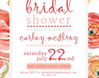 Summer Floral Bridal Shower Invite
