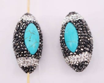 HOT 18x38mm 10pcs  Natural turquoise Bead Pave crystal rhinestone Olivary Shape beads,connector necklace/bracelet/Pendant Jewelry Findings