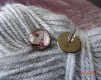 Earrings support bronze eiffel tower glass cabochon